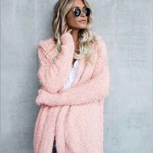 Sweaters - Last one! Was $35 Pink Shaggy Open Hooded Cardigan
